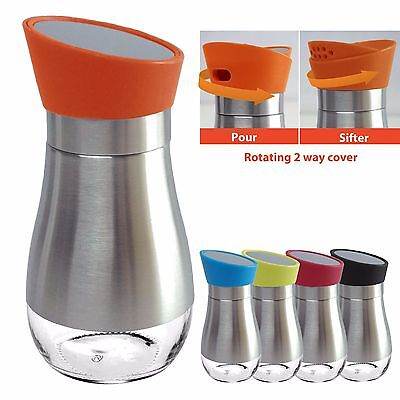 Stainless Steel Salt Pepper Spice Sugar Shakers Glass Bottom Rotating Cover 1 Pc