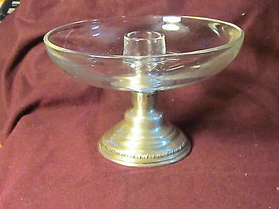 """Sterling Sheffield GLASS & STERLING   CANDLE HOLDER 6"""" X 4"""" nm"""