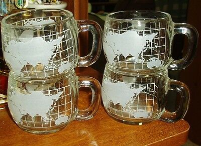 Set Of 4 Nestle Etched Glass World Globe Coffee Cups