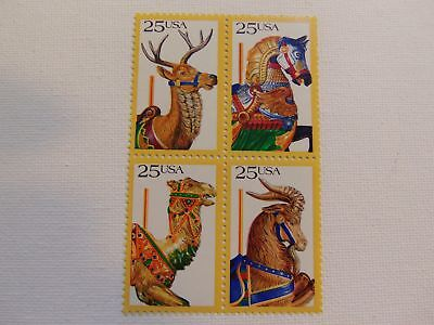 Us Mnh 2390 - 2393A Carousel Horses 1988 Block Of 4  .25 Cent Stamps