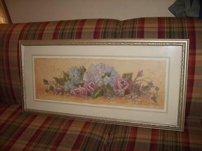"Large ""Spring""  Roses & Hydranga Picture For Your Home Interior 38.5 X 18.5"