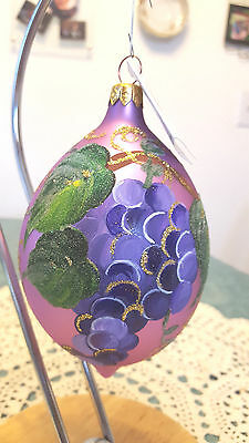 Christopher Radko  Blown Glass Christmas Ornament Grapes on Vinery  Hand Paint