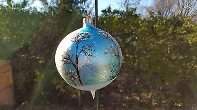Christopher Radko Blown Glass Hand Painted Christmas Ball Ornament Snowy Trees
