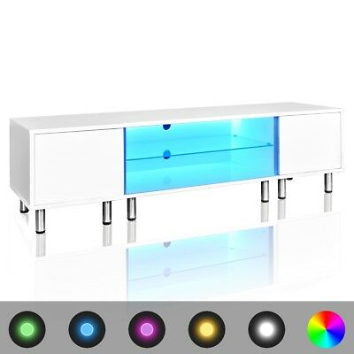 New TV Entertainment Unit LED Modern High Gloss White Stand 160cm Shelf Lowline