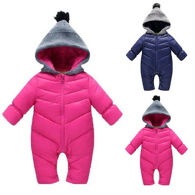 Winter Baby Rompers Warm Overall Hooded Hoodie Newborn Baby Boy Girl Clothes