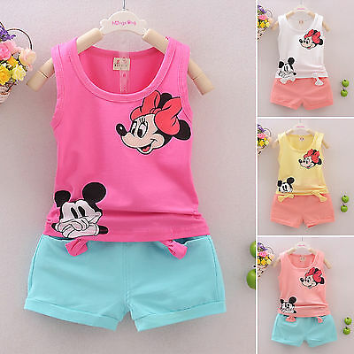Kids Girls Mickey Mouse 2Pcs Clothes Set Sleeveless T-shirt Tops Pants Outfits