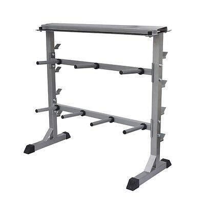 New Barbell Rack Dumbbell Holder Home Gym Fitness Weight Equipment Storage Steel