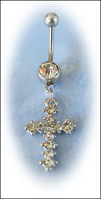 316L Steel CLEAR Rhinestone CROSS Belly Bar FREE POST