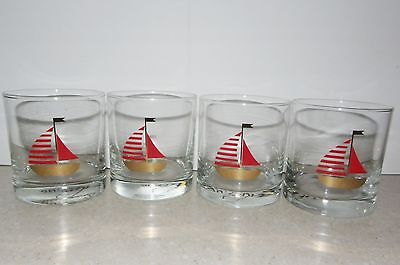 4 Vintage Culver Cocktail Glasses Heavy Gold Low Ball w/ SAILBOAT boat