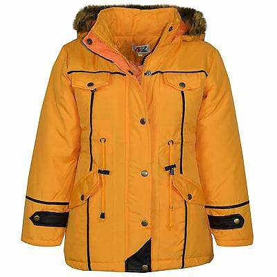 Kids Jacket DESIGNER'S Girls Mustard Parka Coat Faux Fur Hooded Top 3-13 Years