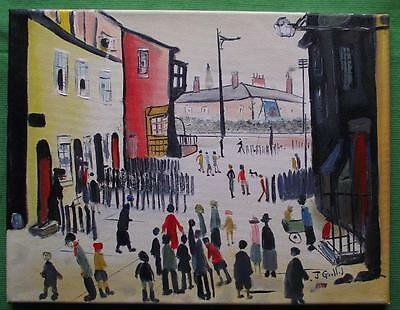 Original Impressionist Oil Painting by John Goodlad Northern Art THE PROCESSION