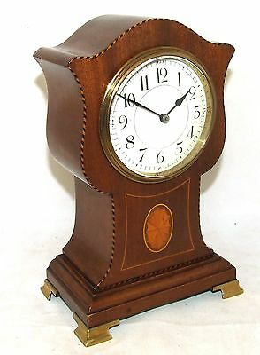 French Antique Inlaid Mahogany Balloon Bracket Mantel Clock : Working Order