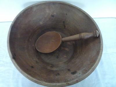 Large Antique French Treen Folk Art Wood Turned Dairy Bowl and Spoon Set