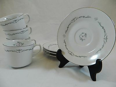 Signature Collection Petite Bouquet China Lot of 4 Sets Cups & Saucers EUC!
