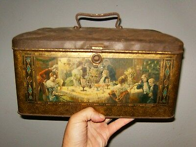 Large Vintage Biscuit Tin / Chest With Painted Scenes