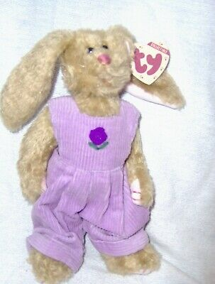 "Iris, 9"" Bunny w/Lavender Overall-Attic Treasures by Ty"