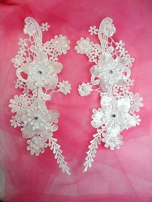 """Embroidered Venice Lace Appliques Pure White Floral Lace Mirror Pair 10/"""" DH109"""