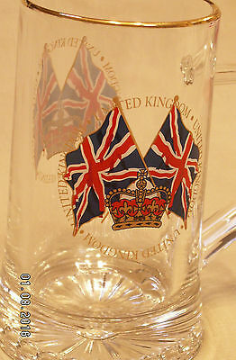 United Kingdom Tankard Glass Mug Beer Ale Stein  Flag & Crown Large Excellent
