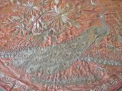 Beautiful Fine Antique Japanese Embroidery ~Blossom & Peacock~ *To Re-Work*