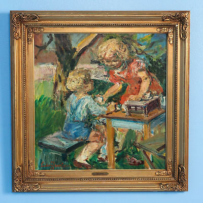 Original Oil on Canvas Painting of Boy and Girl Playing Tea Party Signed Ludvig