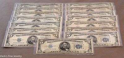 1934 15 $5 Dollar Silver Certificate Very Well Circulated US Currency Bills