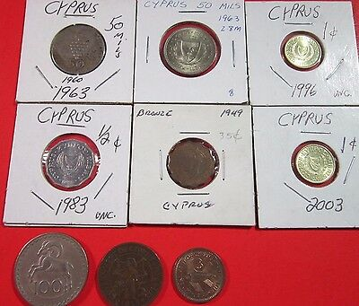 Cyprus. Lot Of 9 Different Coins. Circulated To Uncirculated. See Pics.