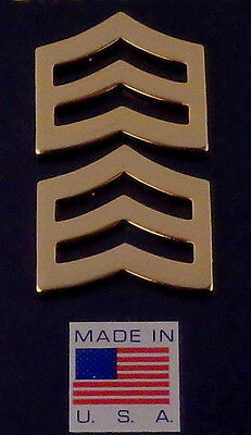 "SGT Sergeant Chevrons LARGE 1"" Gold Pair Collar Pins Rank Insignia USA MADE!"