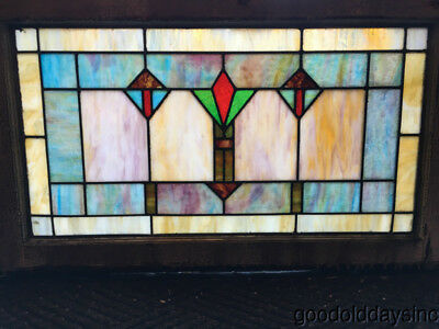 "1 of 2 Antique Stained Leaded Glass Transom Window 34"" by 20 1/2"""