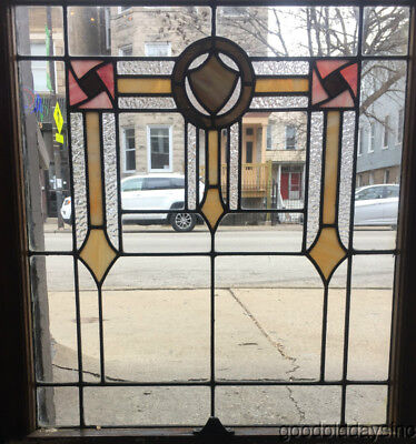 "Antique Stained Leaded Glass Window Chicago Bungalow 32"" by 27"" Circa 1925"