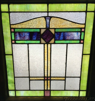 "Antique 1920's  Stained Leaded Glass Window 27"" by 24"""