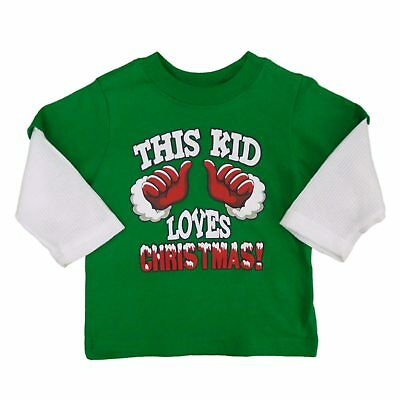 Holiday Time Infant Boys Green This Kid Loves Christmas! Long Sleeve T-Shirt