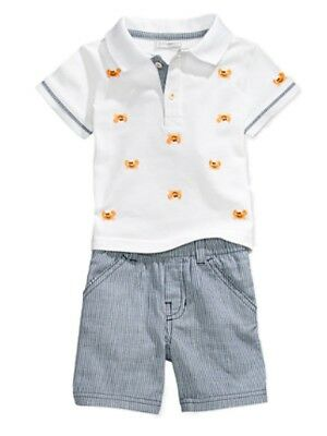 First Impressions Infant Boys 2 Piece Crab Polo T-Shirt & Striped Shorts