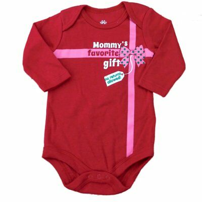 Holiday Time Infant Girls Mommy's Favorite Gift Creeper Christmas Bodysuit