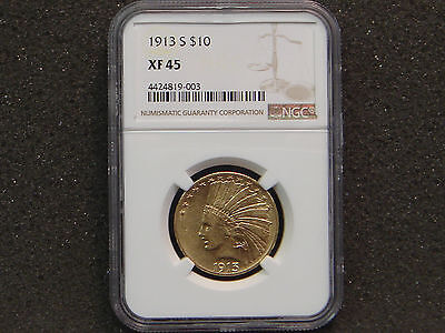 1913-S $10 Ten Dollars Indian Head Gold Eagle NGC XF 45 LOW Mintage 66,000!!