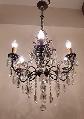 Antique 6 Arms Brass & Crystals HUGE Chandelier from 1950's