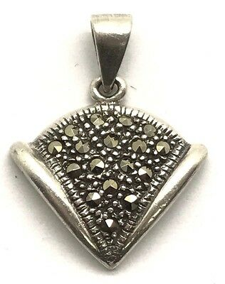 Vintage Style Oxidized Sterling Silver 925 Marcasite Cluster Triangle Pendant