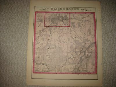 Antique 1873 Whitewater Lagrange Troy Walworth County Wisconsin Handcolored Map