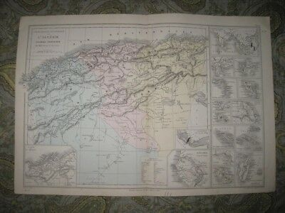 Fine Antique 1874 France French Colony Colonies Algeria Africa New Caledonia Map