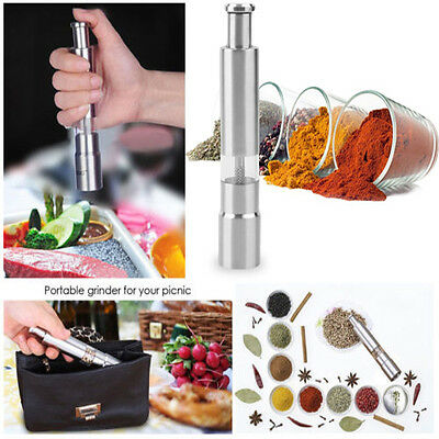 Stainless Steel Thumb Push Mustard Pepper Spice Sauce Grinder Mill Pimenta Stick