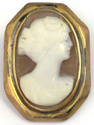 Antique Victorian Carved Shell Cameo Brooch Pin Diana Roman Goddess Moon