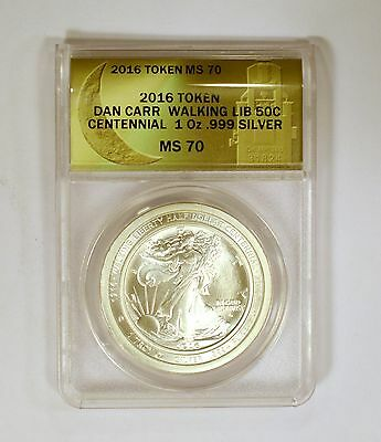 2016 Dan Carr Signed Silver Walking Liberty 50 Cent Centennial MS70 by ANACS