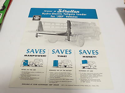 * Vintage Stratton Jeep Vehicles Tailgate Loader Automobile Brochure *