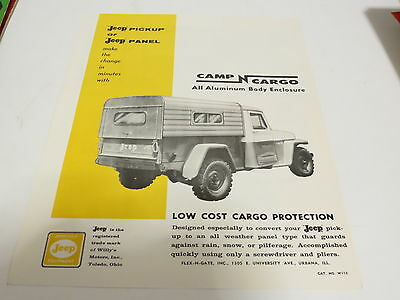 * Vintage Jeep Low Cost Cargo Protection Automobile Brochure *