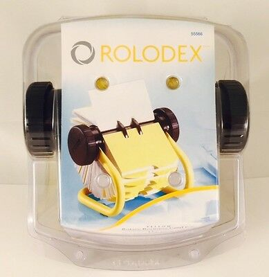 """New Rolodex Yelllow Rotary 200 Business Card File - 2 5/8"""" x 4"""" Cards"""