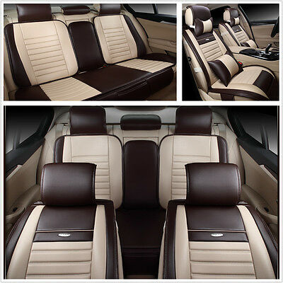 Deluxe Edition PU Leather 5-Seats Car Seat Cover Protector Cushion Mat w/Pillows