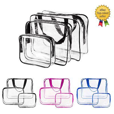3X Cosmetic Makeup Bag Toiletry Clear PVC Travel Wash Organizer Holder Pouch Set