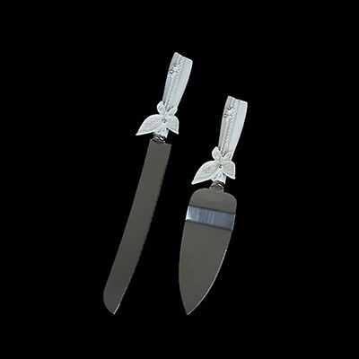 1X Wedding Cake Knife & Serving Set - Butterfly Gift Boxed Engagement