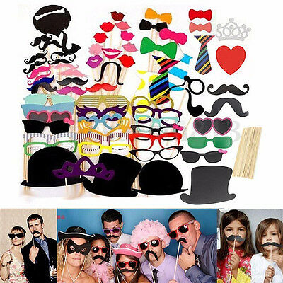 Hot 58pcs DIY Party Fake Red Lips Beard Mask Set Wedding Party Photography Props