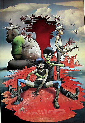 """GORILLAZ """"BAND ON SMALL RED ISLAND"""" POSTER FROM ASIA - Alt Rock / Hip Hop Music"""