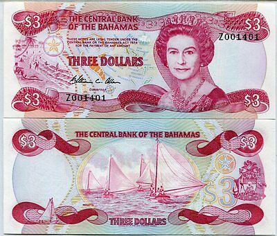 Bahamas 3 Dollars 1974 (1984) Replacement Z Prefix P 44 Qe Ii Unc